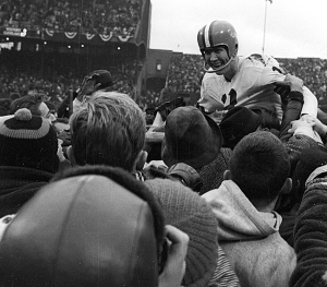 Football: NFL Championship: Cleveland Browns QB Frank Ryan (13) victorious, getting carried off field by fans after winning game vs Baltimore Colts at Cleveland Municipal Stadium. Cleveland, OH 12/27/1964 CREDIT: James Drake (Photo by James Drake /Sports Illustrated/Getty Images) (Set Number: X10474 TK1 C7 F21 )